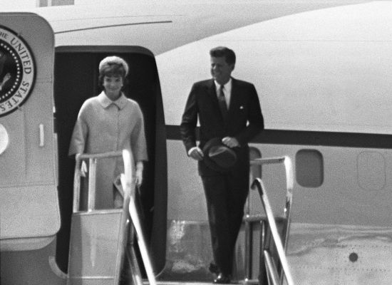President Kennedy and his wife Jacqueline step off Air Force One in Paris in ...