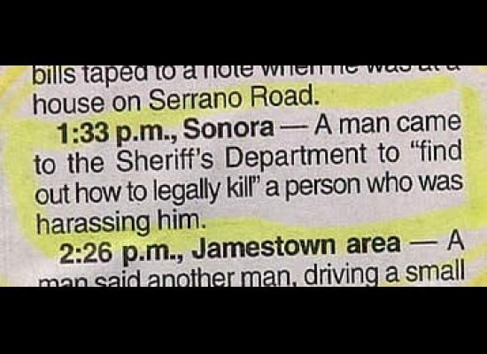 police blotter legally kill