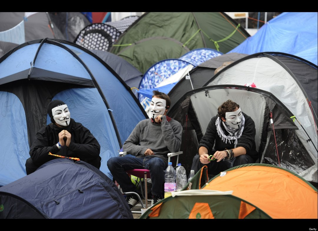 #occupywallstreet image with guy fawkes masks