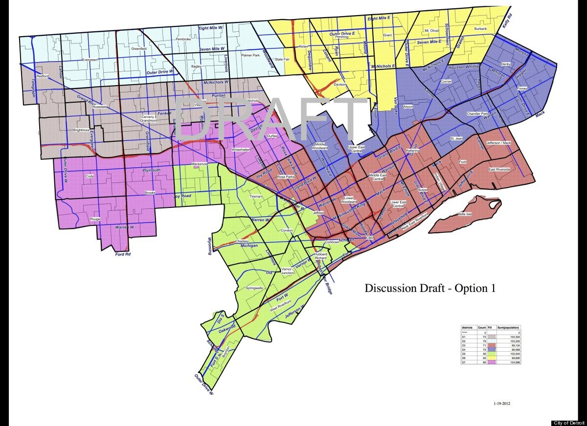 Detroit City Council Districts Chosen Council Votes For