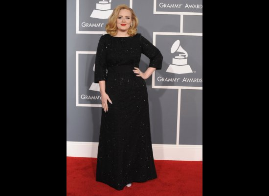 Adele in Giorgio Armani gown at the Grammy Awards 2012