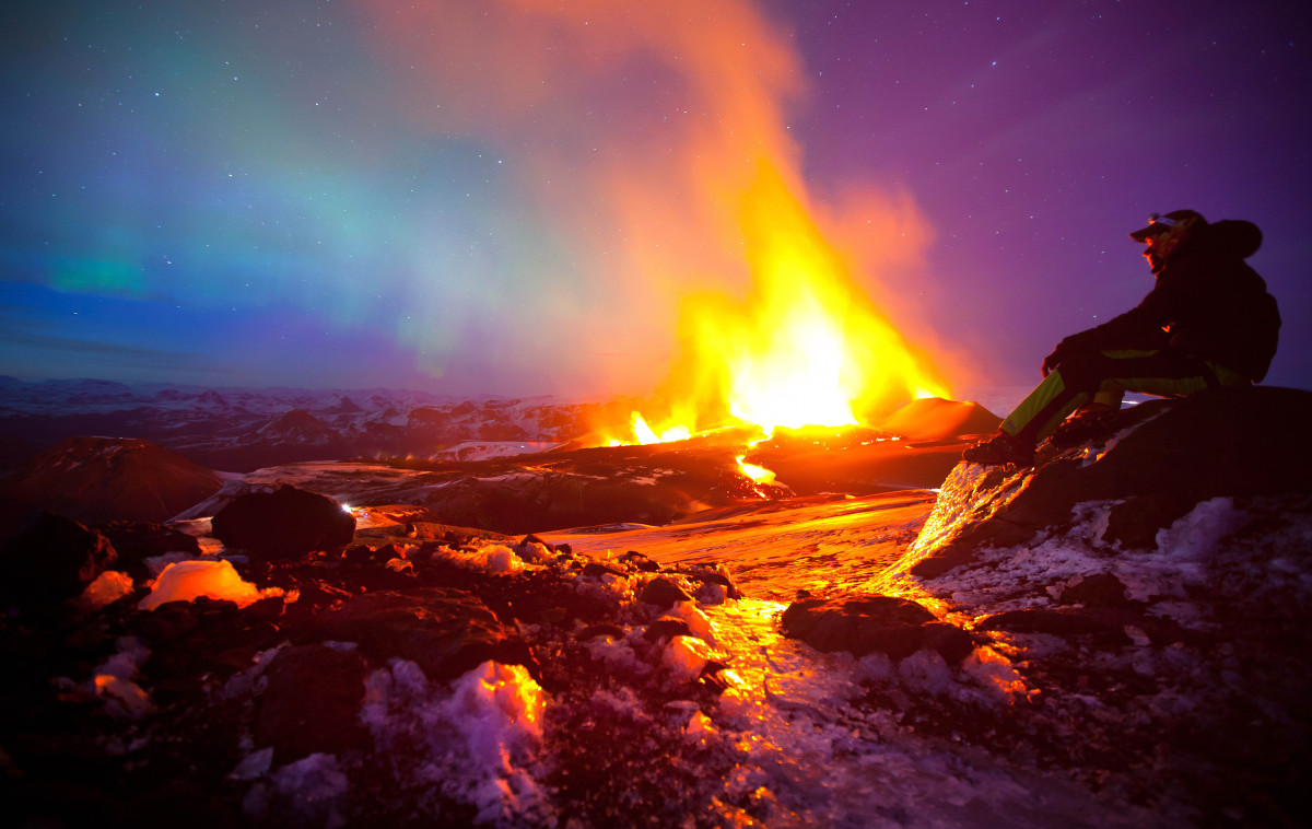 Iceland's Volcanic Landscapes With Northern Lights