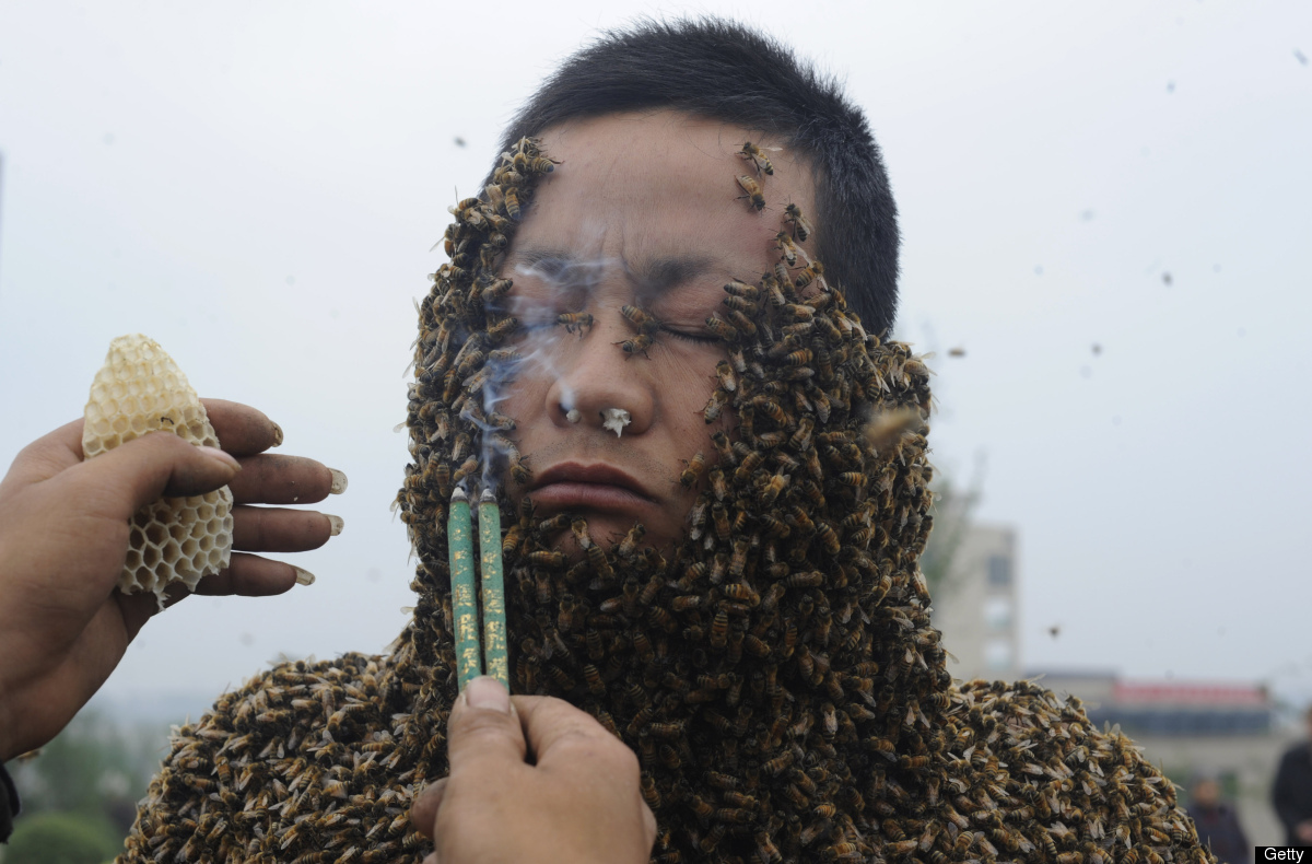 Man Covered in 330,000 Bees Slide_221637_888874_free