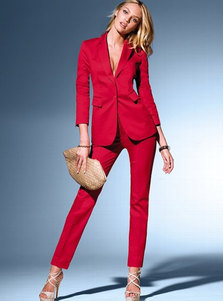 This red trouser and shirt suit is red in colour and a size UK The trouser is structured / tailored but due to having 6% elastane, they are comfortable to wear. I have attached a pic of the size /.