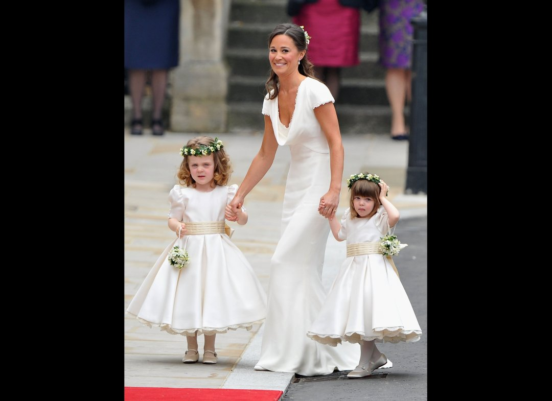 Prince william and princess kate planned perfection maid of honor pippa middleton wore like the bride a sarah burton creation made of a heavy ivory satin based crepe with a cowl front junglespirit Image collections