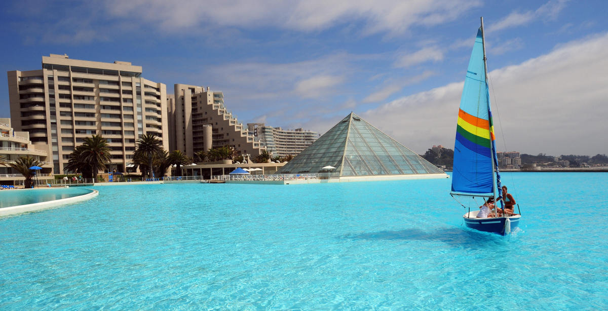 Traveling With Travel Brochures World 39 S Largest Swimming Pool At Chile 39 S San Alfonso Del Mar Resort