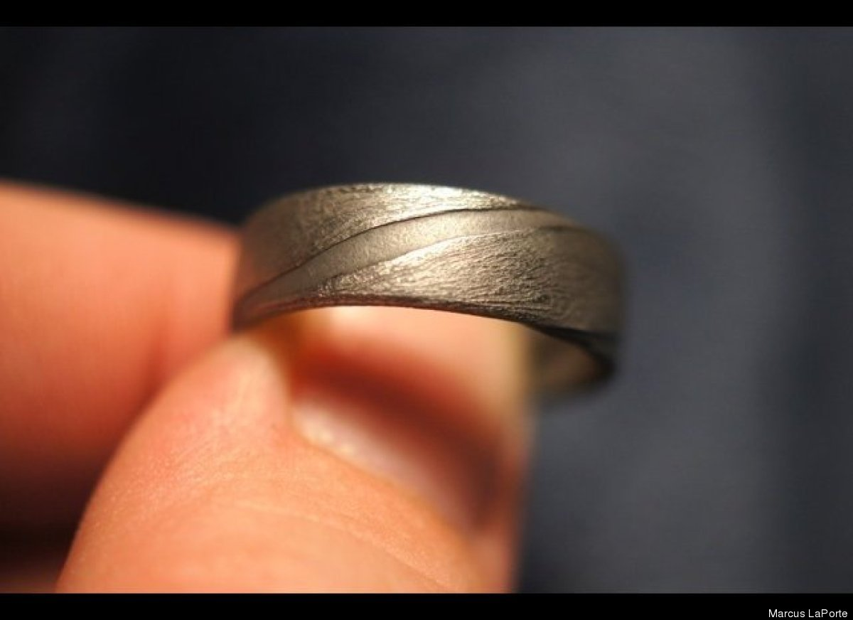 meteorite ring n meteorite wedding ring Meteorite Ring Reddit User Laporkenstein Marcus LaPorte Forges Own Wedding Ring PHOTOS