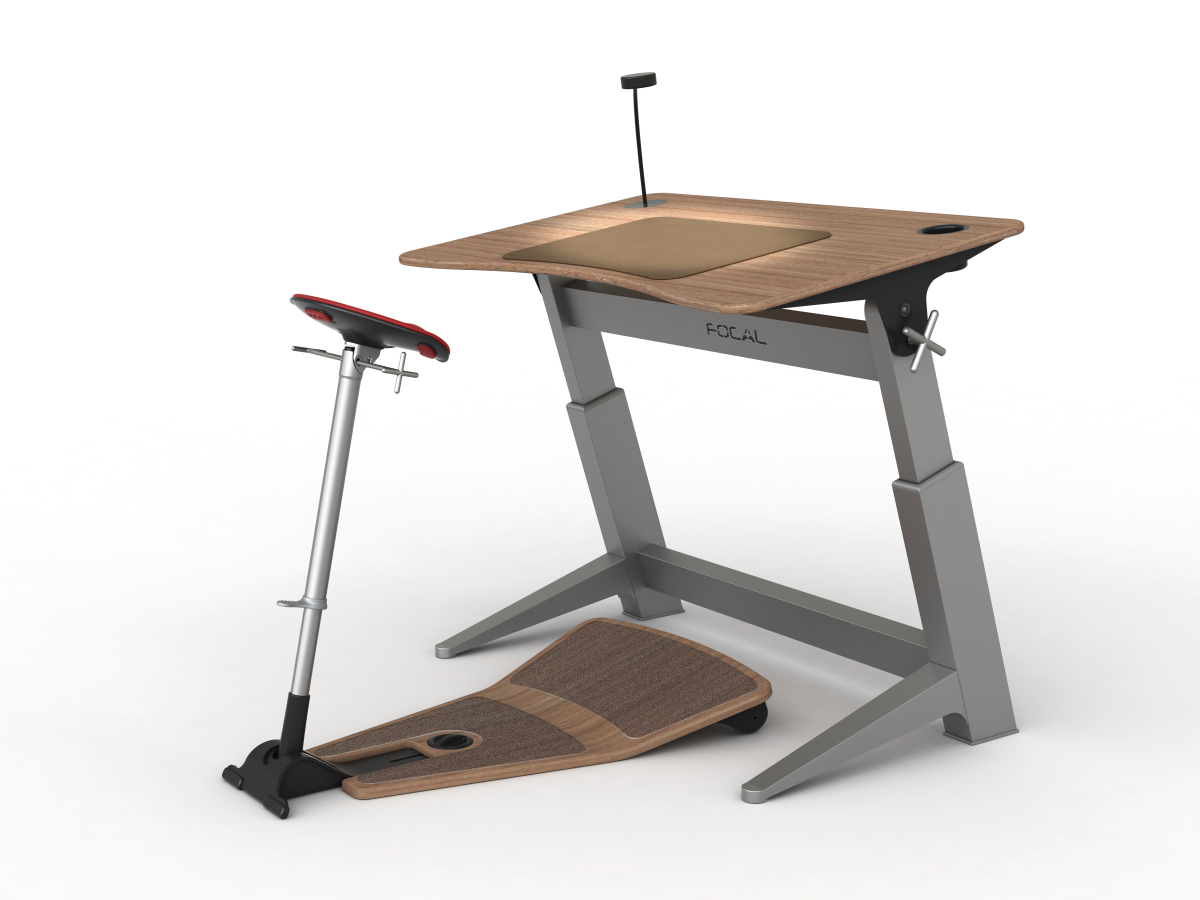 Focal upright furniture 39 s half sitting half standing desk for Standing office desk furniture