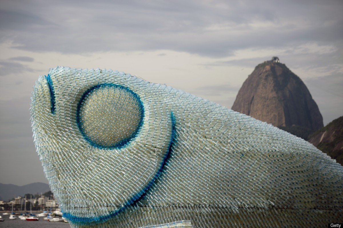 Artist at unced creates fish sculptures out of plastic for Art made from plastic bottles
