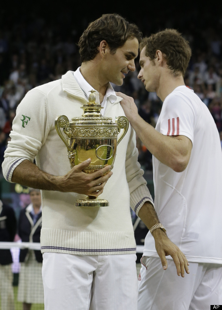 Roger Federer and Andy Murray after receiving their trophies
