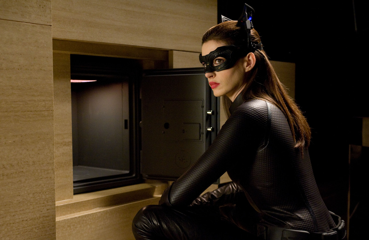 "Anne Hathaway as Catwoman in a scene from the action thriller ""The Dark Knight Rises."" (Photo credit: AP Photo/Warner Bros. Pictures, Ron Phillips)"