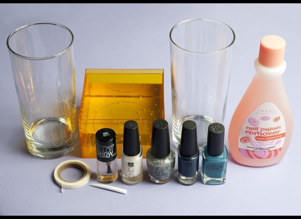 Create Beautiful Diy Marbleized Glass Using Nail Polish Photos Huffpost