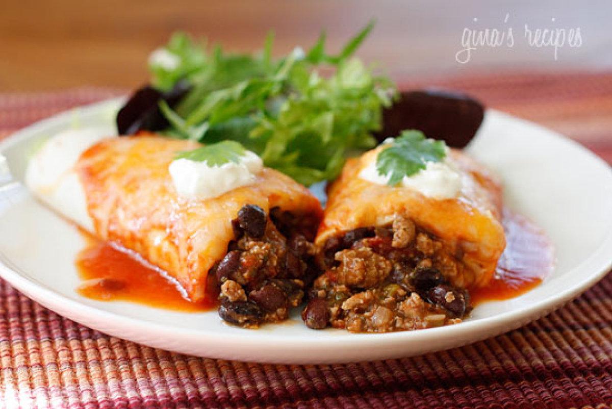 20 turkey and black bean enchiladas