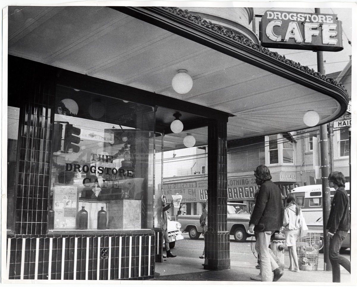 Drogstore Cafe (view from Masonic) 1398 Haight Street. 1967. Now Magnolia Pub & Brewery. San Francisco History Center, San Francisco Public Library