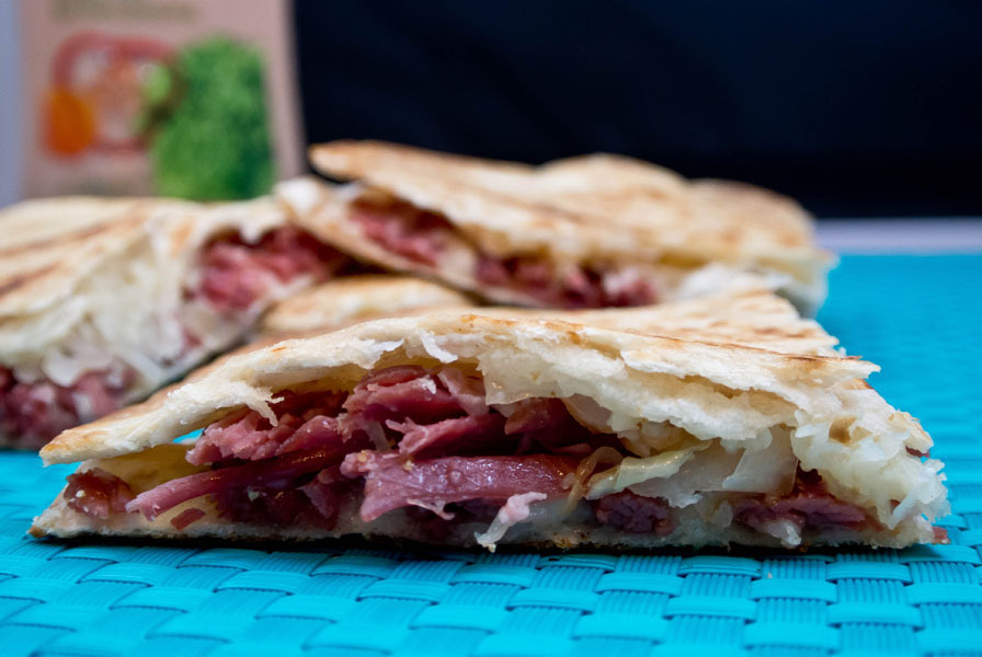 fully loaded reuben quesadillas