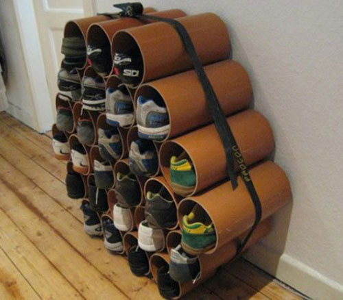 Botiquin Para Baño Reciclado:PVC Pipe Shoe Rack