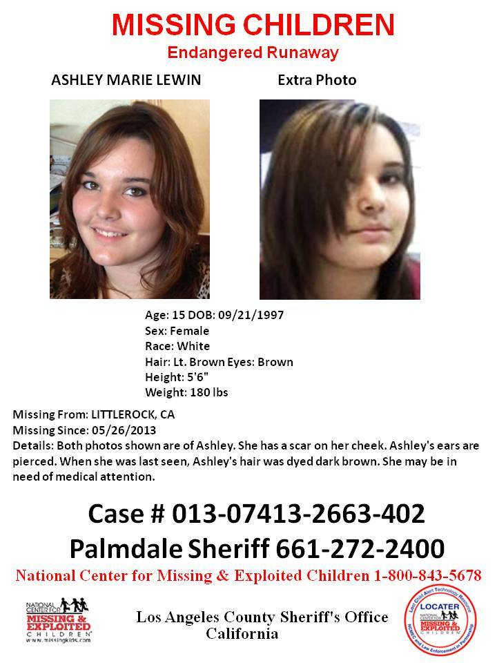 15 yr old Ashley Marie Lewin of So Cal Missing: Family Fears She May be with a man she met on the Internet >1369842903002