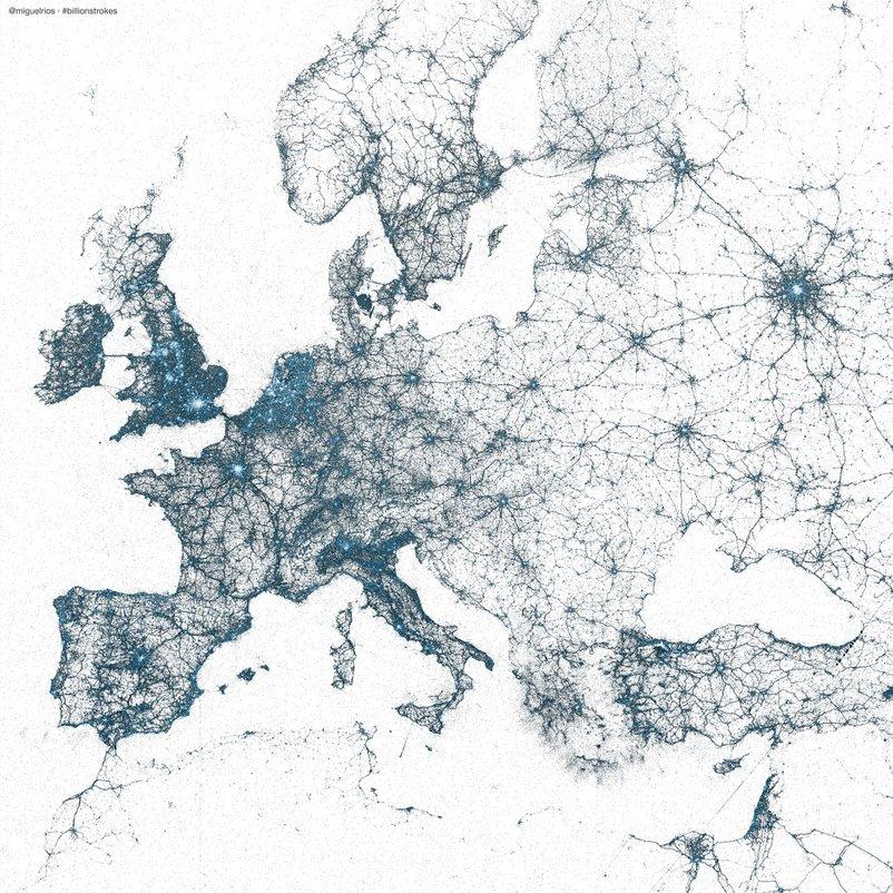 Twitter visto da 'satellite' - la mappa dei cinguettii
