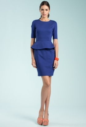 Best Dress For A Fall Outdoor Wedding This cobalt blue peplum dress