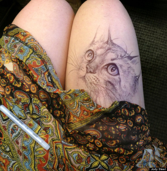 Leg drawings ripped skin cats and breaking bad featured for Bad cat tattoo