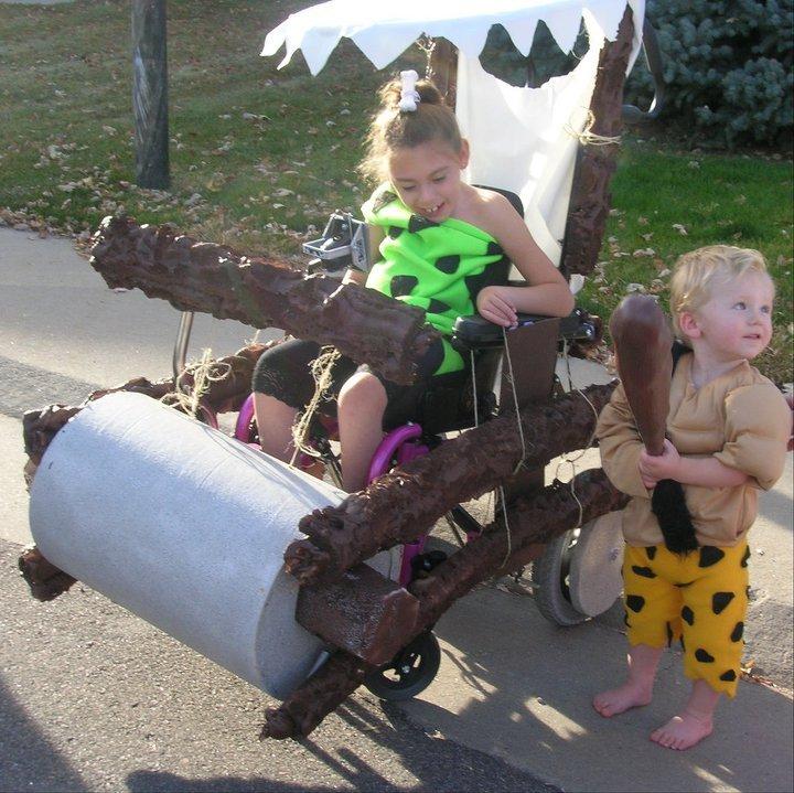 Pebbles and Bamm Bamm - wheelchair halloween costume