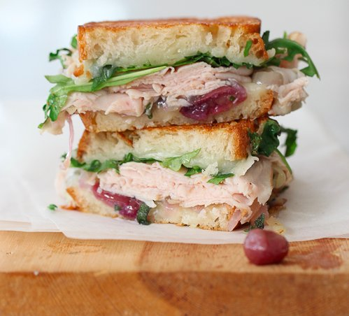 Turkey & White Cheddar With Caramelized Onion And Grape Grilled Cheese ...