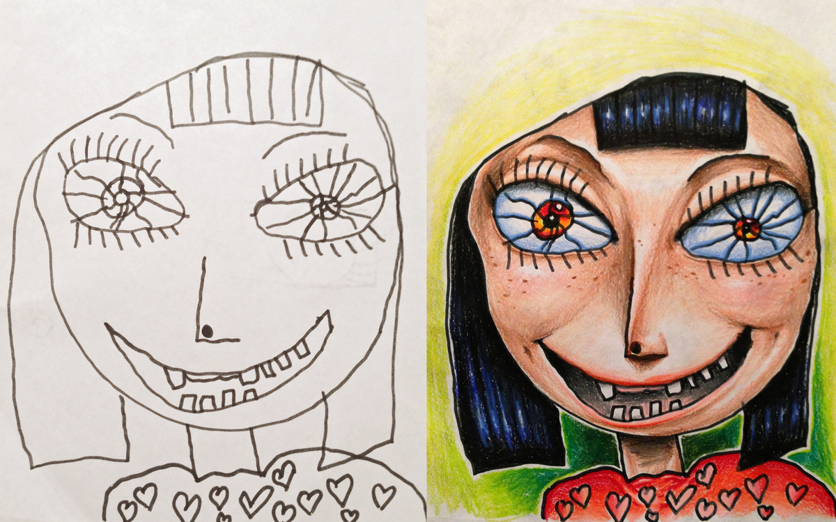a tattoo artist colored in his 4 year old daughters line drawing the results were pretty epic - Images Of Kids Drawing