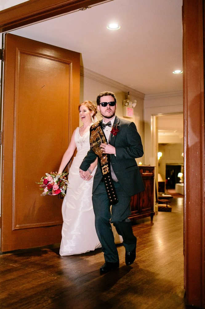 couples wrestlingthemed wedding is worthy of a