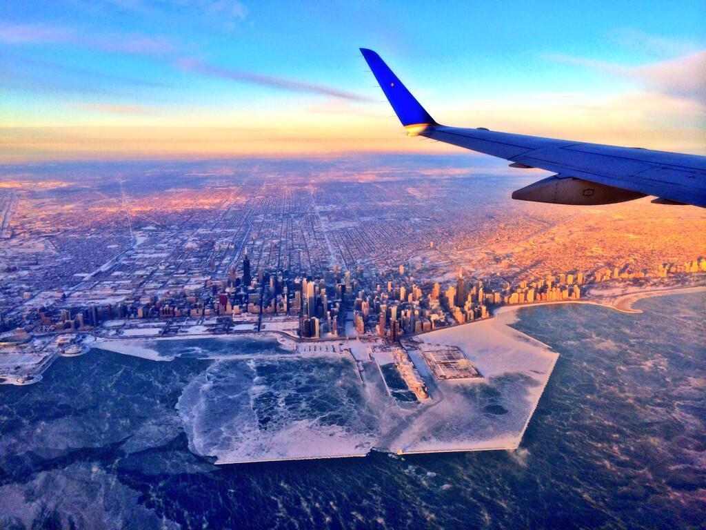 Airplane view of New York City in the winter