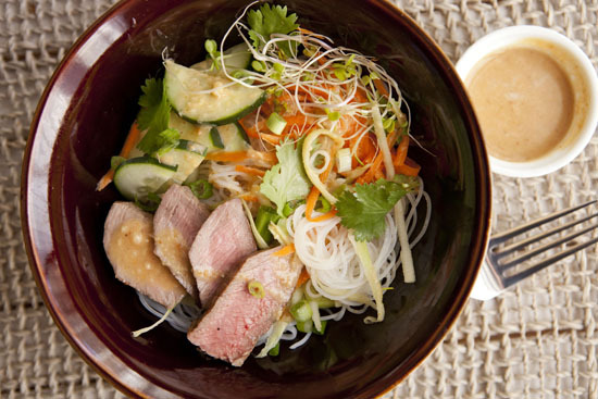 Get the Cold Marinated Sirloin Noodle Bowl recipe from Macheesmo