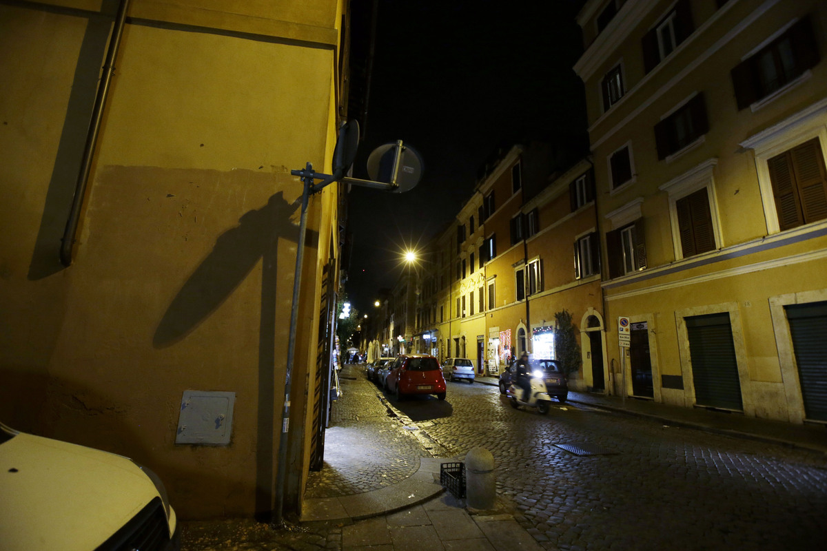 The wall left where the image depicting pope francis as superman was posted is seen empty at the borgo pio district near st peters square in rome