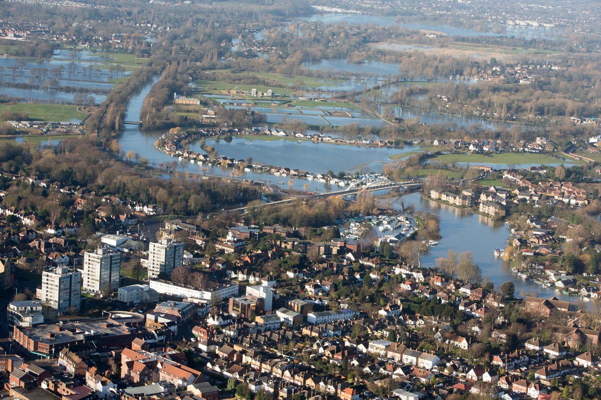 Surrey Weather: UK Weather: 9 Aerial Images Of Surrey Under Water