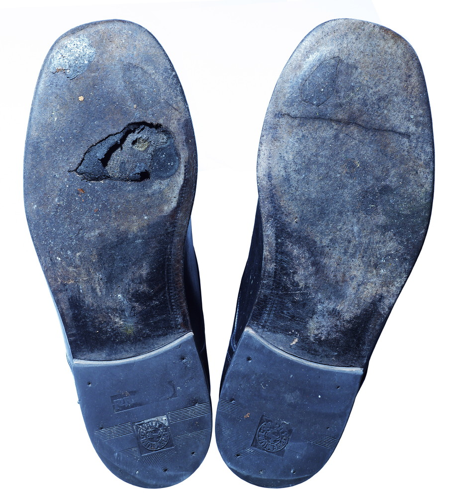 Shoes with worn soles