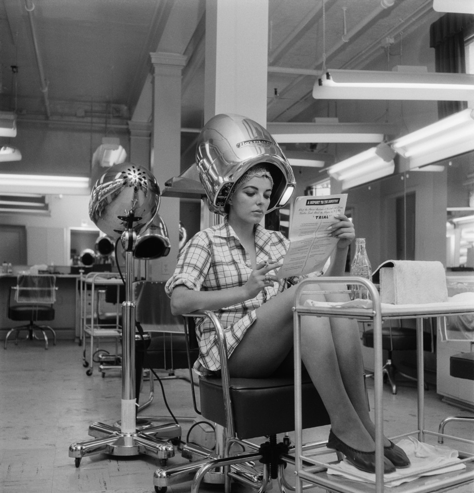 These vintage hair dryer photos make it seem cool under for 1950 s beauty salon