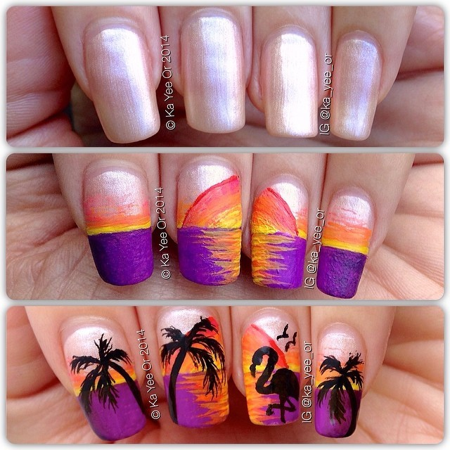 Nail Art Ideas For Beach Vacation: Tropical Nail Art: Sunsets, Sea Turtles And Sandy Beaches