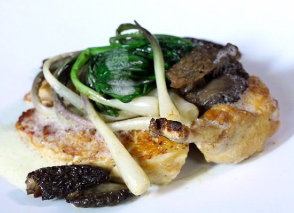 Get the Pan-Roasted Chicken Breast with Morels, Ramps and Frothed ...