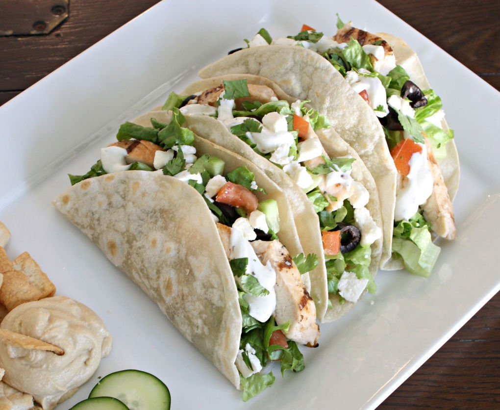 Get the Greek Salad Tacos with Cucumber Dill Dressing recipe from The ...