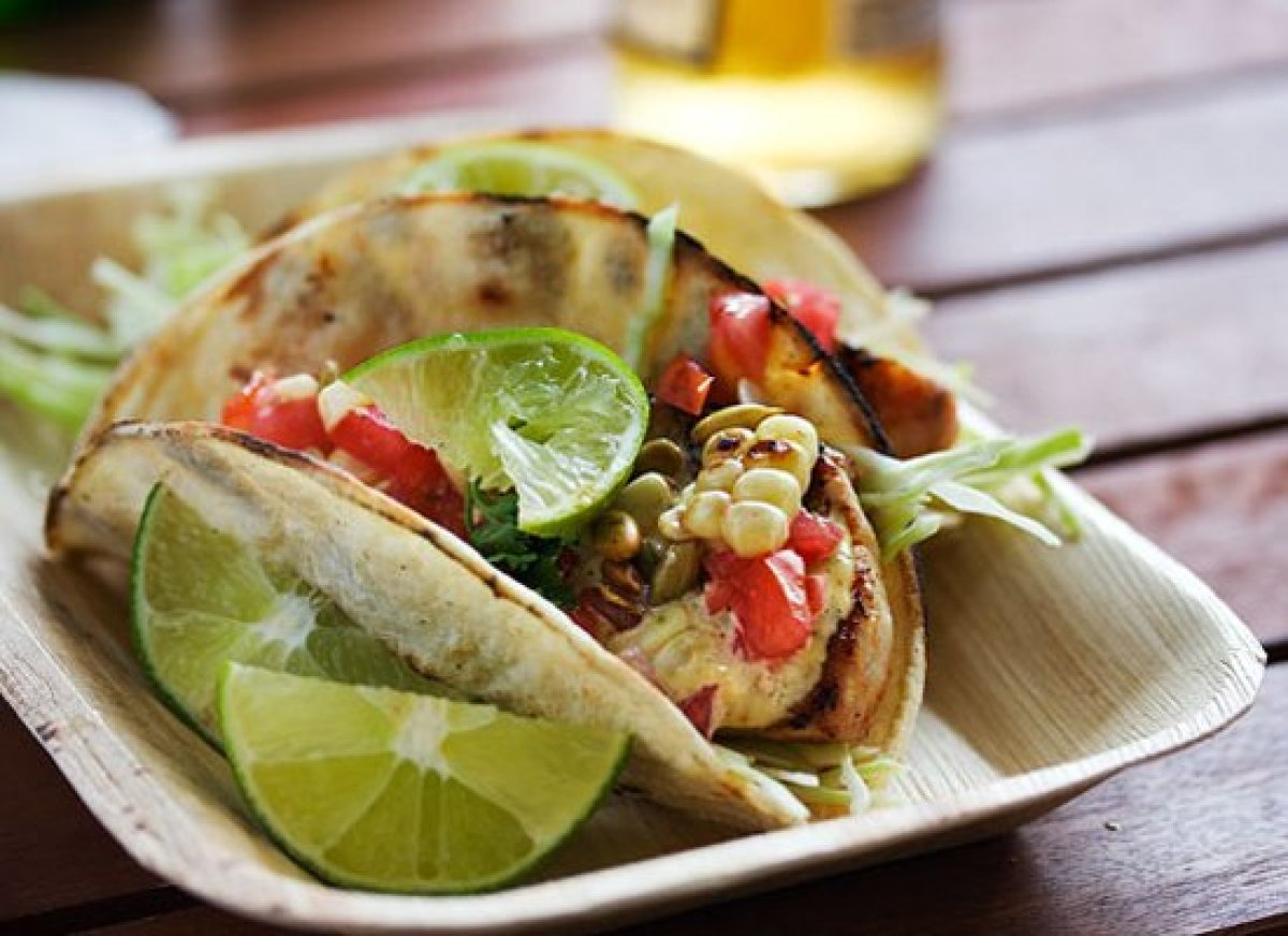 11 grilled fish tacos with roasted corn and pepitas