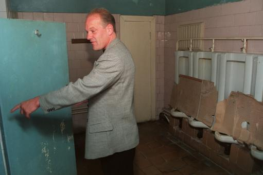 1996 - Andy Gray takes a break from commenting on England's qualifier against Moldova to show his disgust at the state of the Moldovan toilets