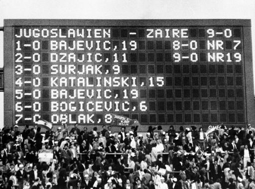 1974 - The scoreboard of the Yugoslavia v Zaire game runs out of space - because Yugoslavia won 9-0.