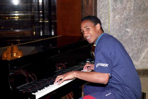 "1993 - ""Do you know how to score a penalty?"" ""You hum it, I'll play it!"" Yes, England's Paul Ince tinkles the ivories at the team hotel ahead of the World Cup qualifier against Turkey."