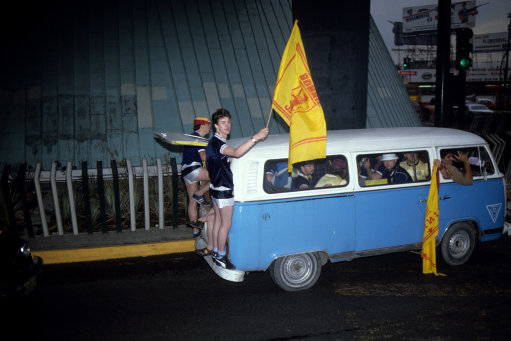 "1986 - At last, an answer to the question ""How many Scottish fans can you fit in a VW camper van?"""