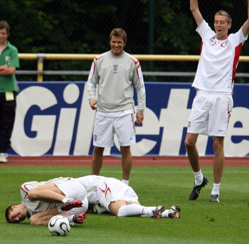2006 - Steven Gerrard takes a tumble at training camp.