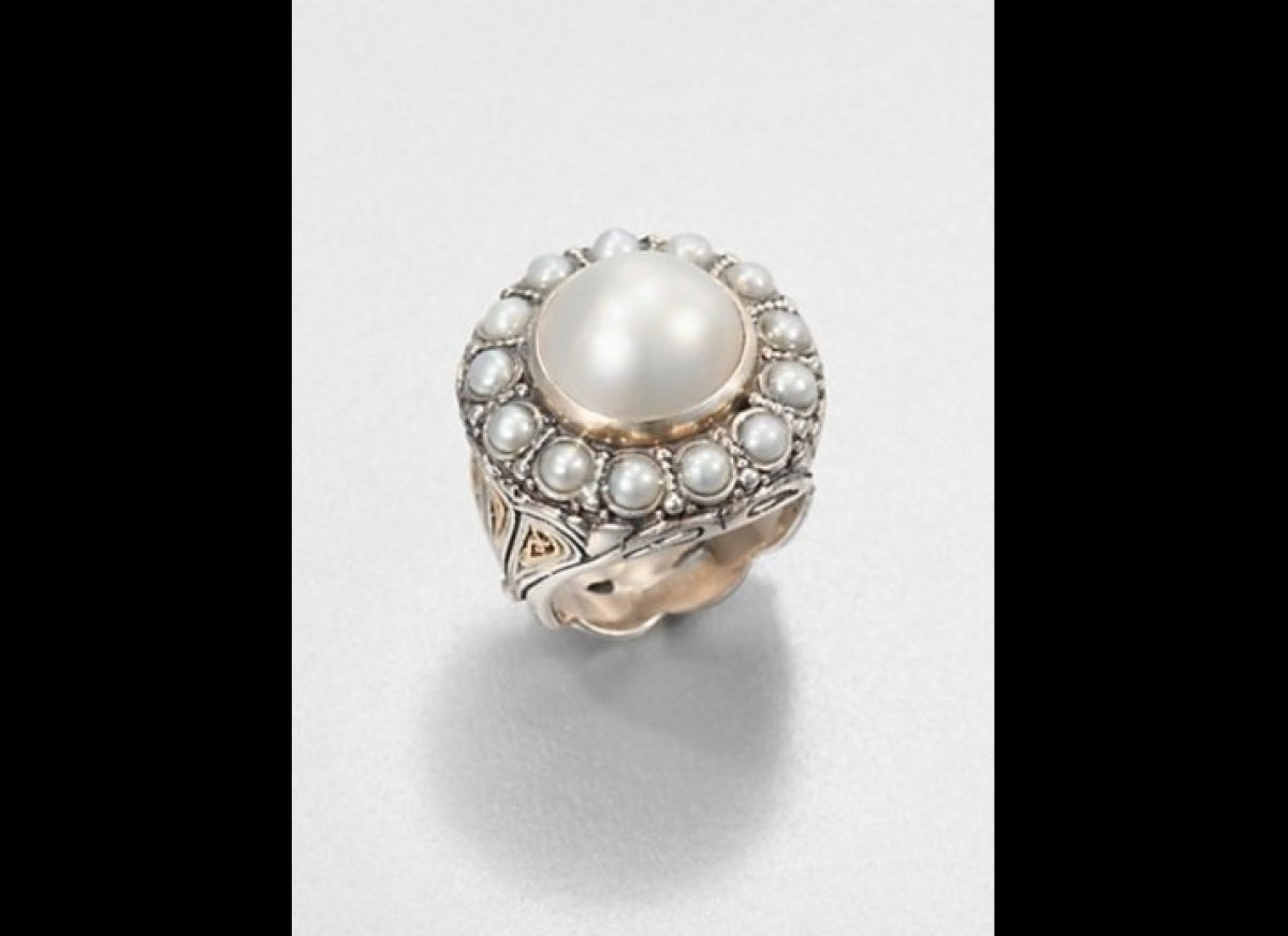 Cultured Pearl, Sterling Silver And 18k Yellow Gold Ring From Saks Fifth  Avenue Via Lover