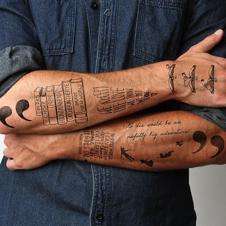 18 ephemeral tattoos for booklovers huffpost. Black Bedroom Furniture Sets. Home Design Ideas