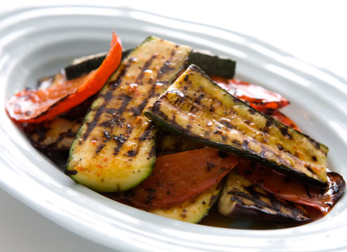 Get the Grilled Peppers, Eggplant and Zucchini with Lemon-Harissa ...