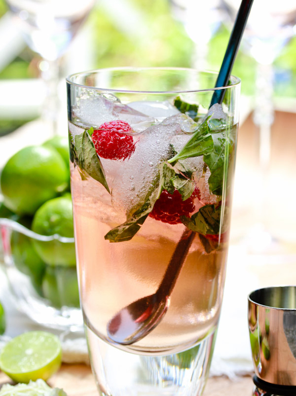 Get the Raspberry Basil Mojito recipe by A Spicy Perspective