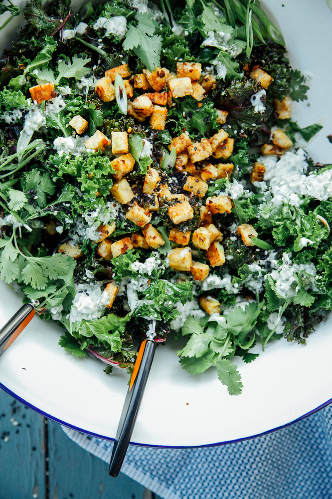 Green Curry Kale With Crispy Coconut Tempeh. Image: The First Mess