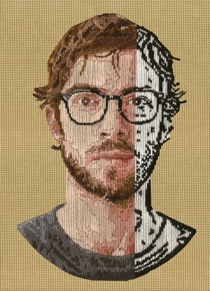 Artist Creates Handmade Digital Images By Stitching Pixels