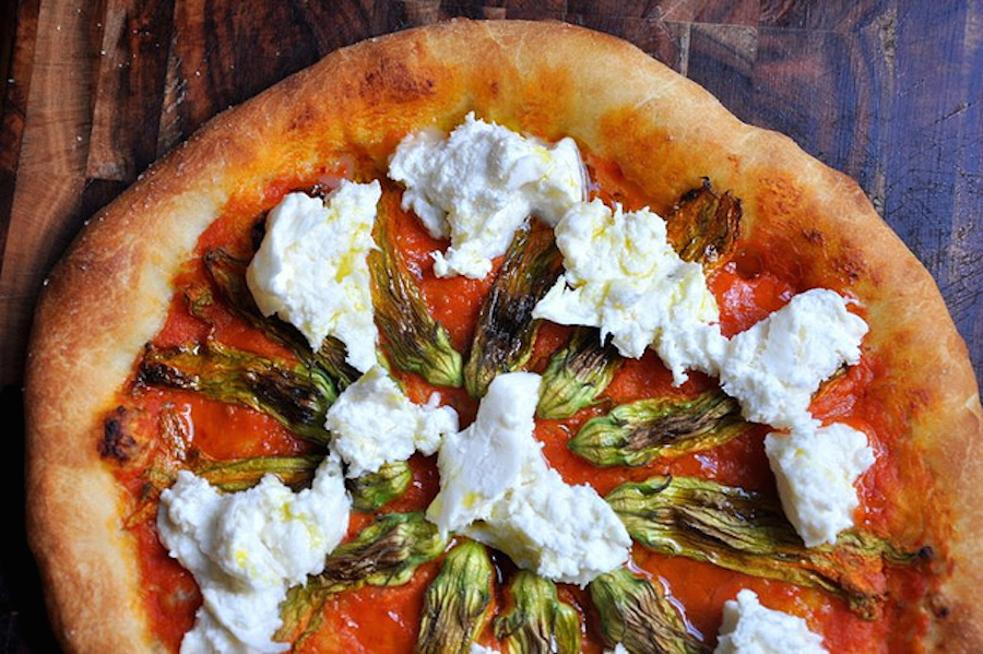 squash blossom and burrata pizza